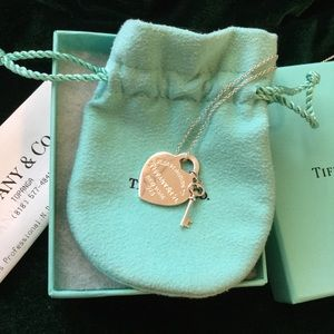 Tiffany and Co Heart tag with key necklace 18""